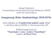 Inauguracja Roku Ursynowskiego UTW 2018/2019